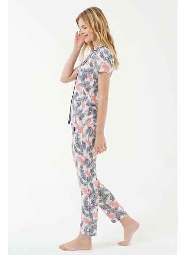 U.S. Polo Assn. Kadın Ekru Boydan Patlı Pijama Takım Ekru